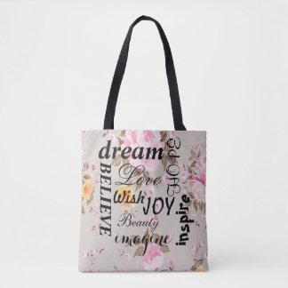Vintage Pink Roses Inspirational Tote Bag