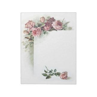 Vintage pink roses notepad