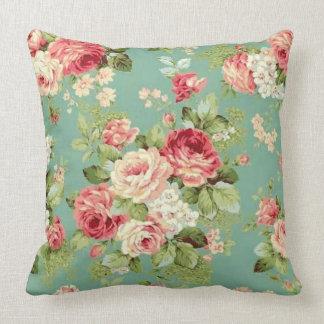 Vintage Pink Roses on Green Wallpaper Print Cushion