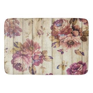 Vintage Pink Roses on Wood Bath Mat