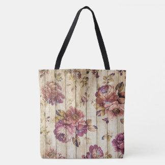 Vintage Pink Roses on Wood Tote Bag