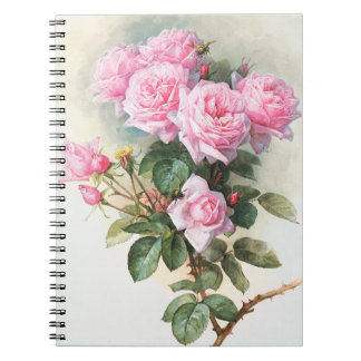 Vintage Pink Roses Painting Notebook
