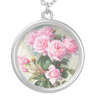 Vintage Pink Roses Painting Round Pendant Necklace