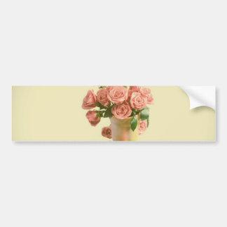 Vintage Pink Roses. Retro Flowers Bumper Sticker