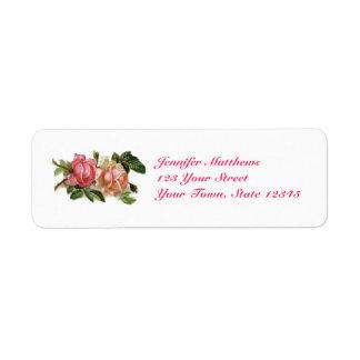 Vintage Pink Roses Return Address Label