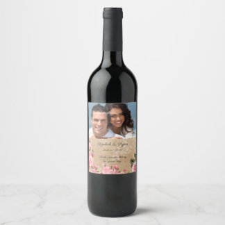 Vintage Pink Roses, Rustic Paper, Custom Photo Wine Label