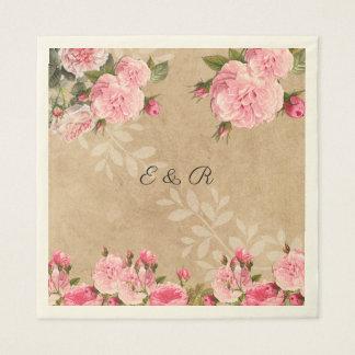Vintage Pink Roses,  Rustic Paper, Wedding, Custom Paper Serviettes
