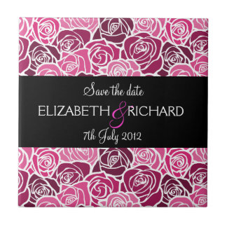 Vintage pink roses Save the date Tile