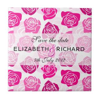 "Vintage pink roses ""Save the date"" Tile"