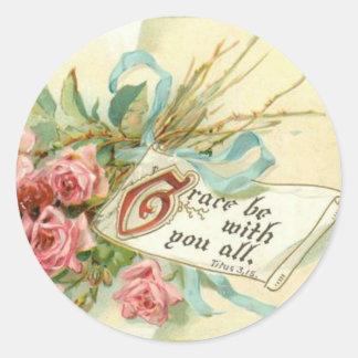 Vintage Pink Roses Scripture Classic Round Sticker