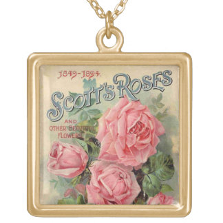 Vintage Pink Roses seed packet -Necklace Square Pendant Necklace