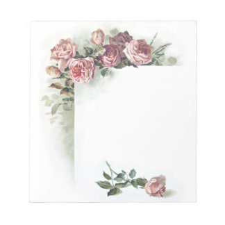 Vintage pink roses small notepad