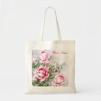 Vintage Pink Roses Canvas Bag