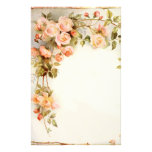 Vintage pink roses vine painting stationery paper