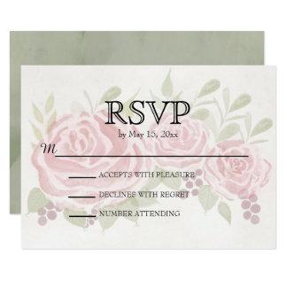 Vintage Pink Roses Wedding RSVP Card