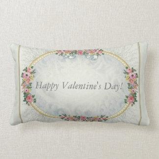 Vintage Pink Roses with Gold Border CUSTOMIZE Lumbar Pillow