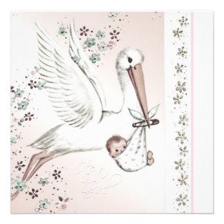 Vintage Pink Stork Baby Girl Shower Invitations