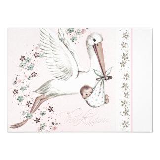 Vintage Pink Stork Baby Shower Thank You Card