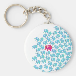 Vintage pink teal floral cute elephant pattern basic round button key ring