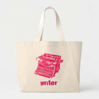 Vintage Pink Typewriter Large Tote Bag