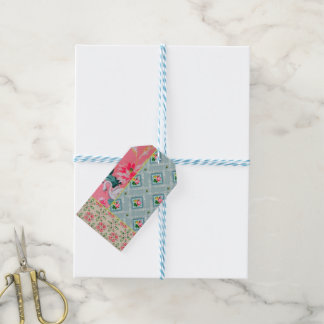 Vintage pink wallpaper gift tags