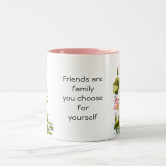 Vintage - Pink Water Lilies & Friends Quote Two-Tone Coffee Mug