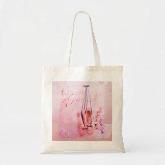 Vintage Pink Watercolor Ballerina Dancer Ballet Budget Tote Bag