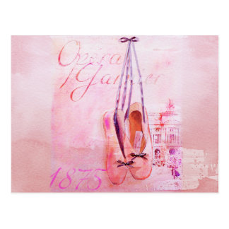 Vintage Pink Watercolor Ballerina Dancer Ballet Postcard