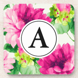 Vintage Pink Watercolor Peonies Monogram Coaster