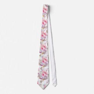 Vintage Pink Watercolor Trendy Roses Floral Tie
