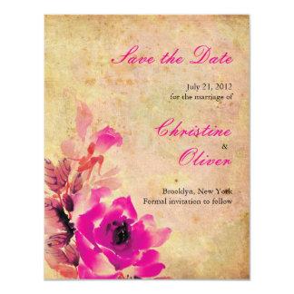 Vintage Pink Wedding Save the Date Card 11 Cm X 14 Cm Invitation Card