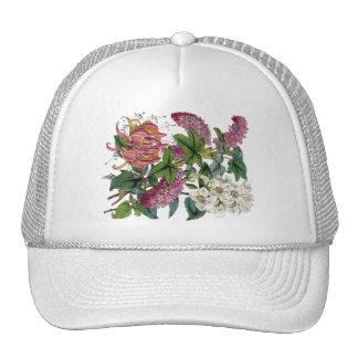 Vintage Pink White Victorian Flora Botanical Print Mesh Hats