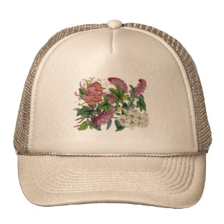 Vintage Pink White Victorian Flora Botanical Print Trucker Hat