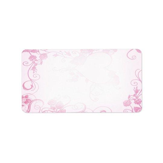 Vintage Pink & White Wedding Label Address Label