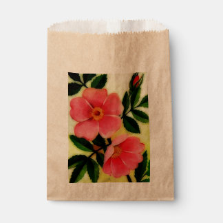 Vintage pink wild flowers -painting favour bag
