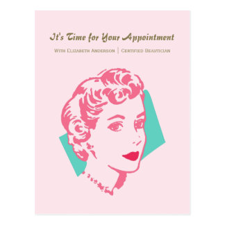 Vintage Pink Woman Beauty Appointment Reminder Postcard