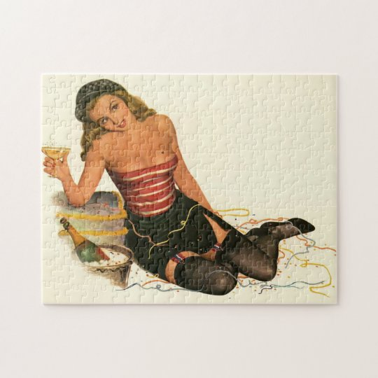 Vintage Pinup Girl Original Colouring 11 Jigsaw Puzzle