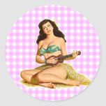 Vintage Pinup Lady Round Stickers
