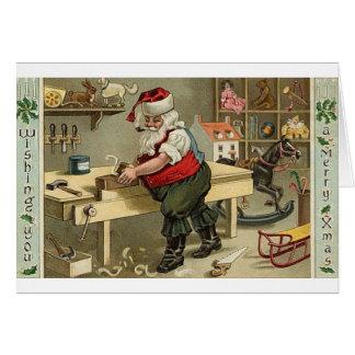 Vintage Pipe Smoking Santa Christmas Greeting Card