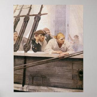 Vintage Pirate, Brig Covenant in a Fog by NC Wyeth Print