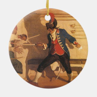 Vintage Pirate Captain, Sword Fight by NC Wyeth Round Ceramic Decoration