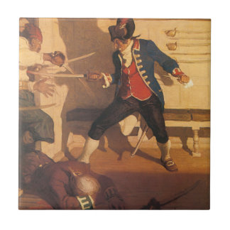 Vintage Pirate Captain, Sword Fight by NC Wyeth Small Square Tile