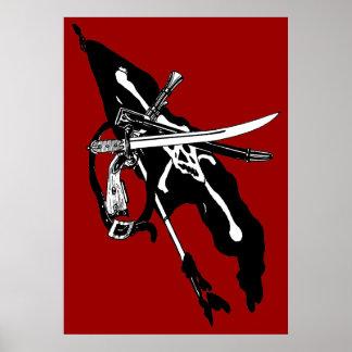 Vintage Pirate Flag, Jolly Roger Skull Crossbones Poster