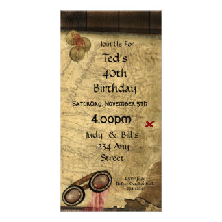 Vintage Pirate Map, Gold Coins and Vintage Look Photo Card