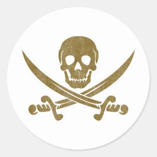 Vintage Pirate Round Sticker