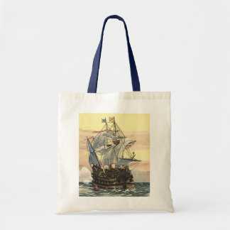 Vintage Pirate Ship Galleon Sailing on the Ocean Tote Bags