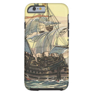 Vintage Pirate Ship, Galleon Sailing on the Ocean Tough iPhone 6 Case