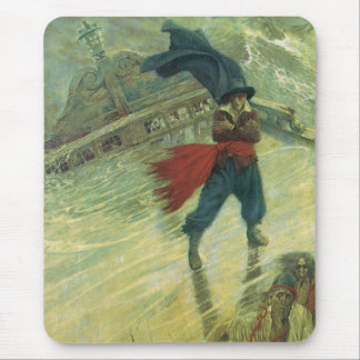 Vintage Pirate, The Flying Dutchman by Howard Pyle Mouse Pad