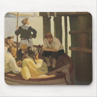 Vintage Pirates, At Queen's Ferry by NC Wyeth Mouse Pad