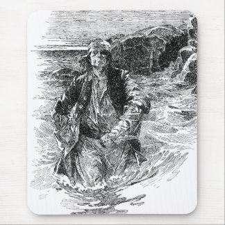 Vintage Pirates, Black and White Sketch, Tailpiece Mouse Pad